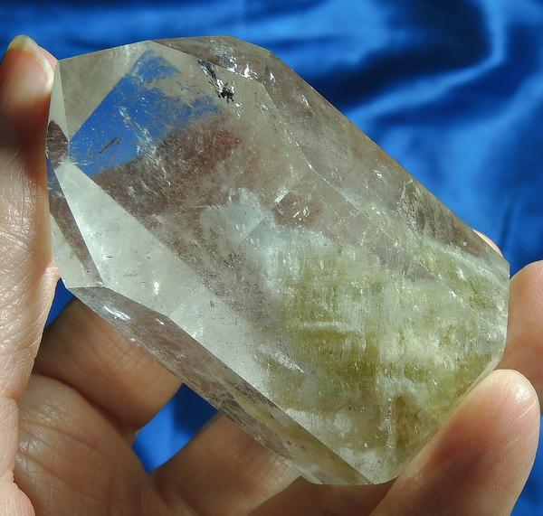 Mystic Polished Crystalline Spirit Quartz with Golden and Green Chlorite