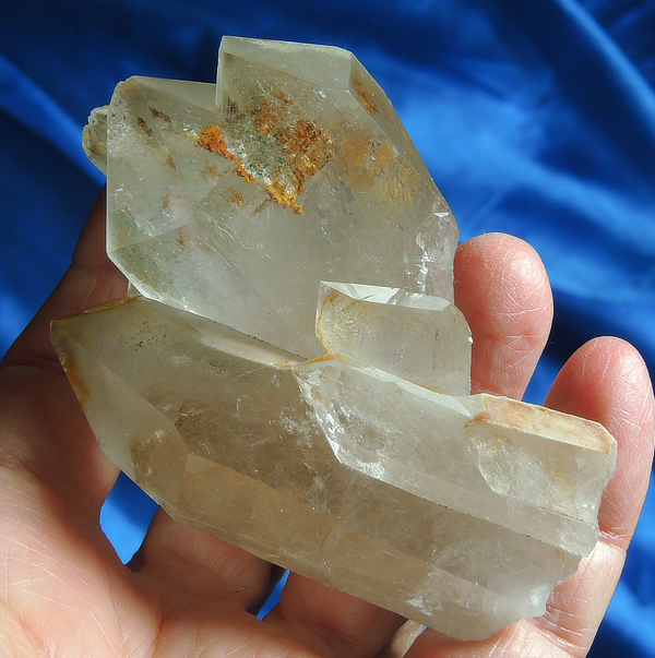 Gleaming Green, Cream and Russet Chlorite Quartz - Growth