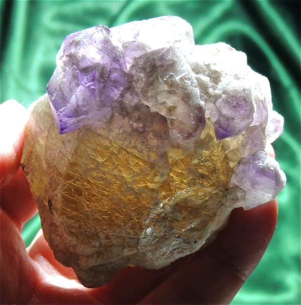 Palm-Sized and Sweet Etched Elestial Ametrine