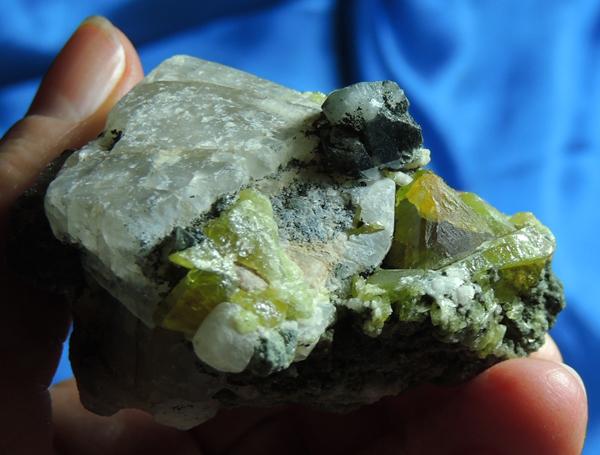 Gemmy Golden-Green Apatite Cluster on Calcite