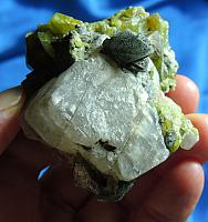 Gemmy Golden-Green Apatite Cluster on Calcite