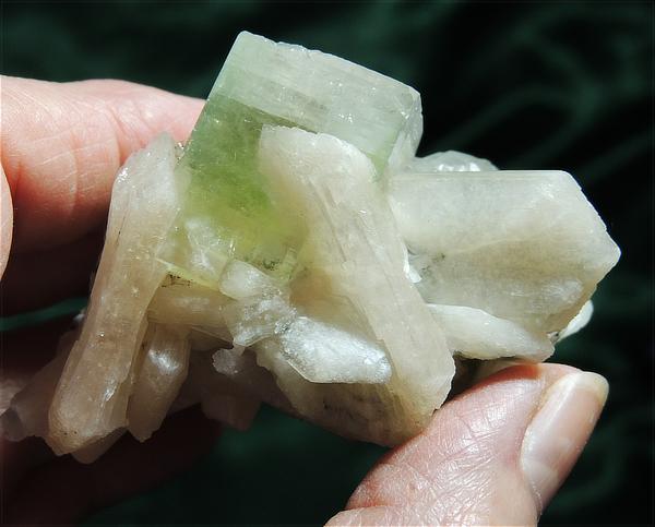 Pastel Green Apophyllite with Peach Stilbite, Scolicite