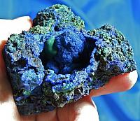 Lovely Indigo-Blue Azurite with Green Malachite and Vug of Nodules