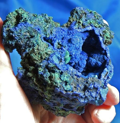 Lively Indigo-Blue Azurite with Green Malachite and Vug of Nodules