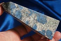 "Polished Obelisk with Indigo Azurite ""Eyes"" in Granite"