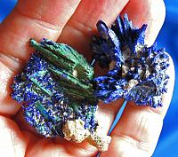 Pair of Vivid and Intense Crystals of Azurite with Malachite