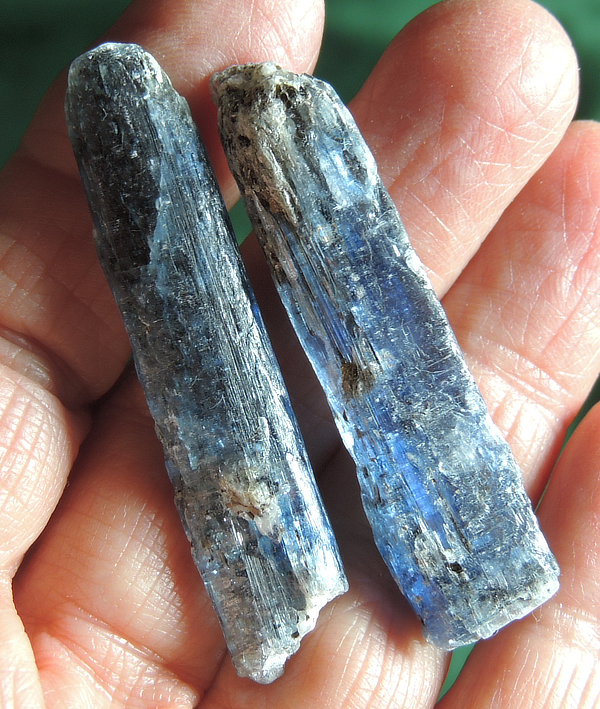 Pair of Goddess of the Moon Silvery-Blue Kyanite Wands with Black Stripes