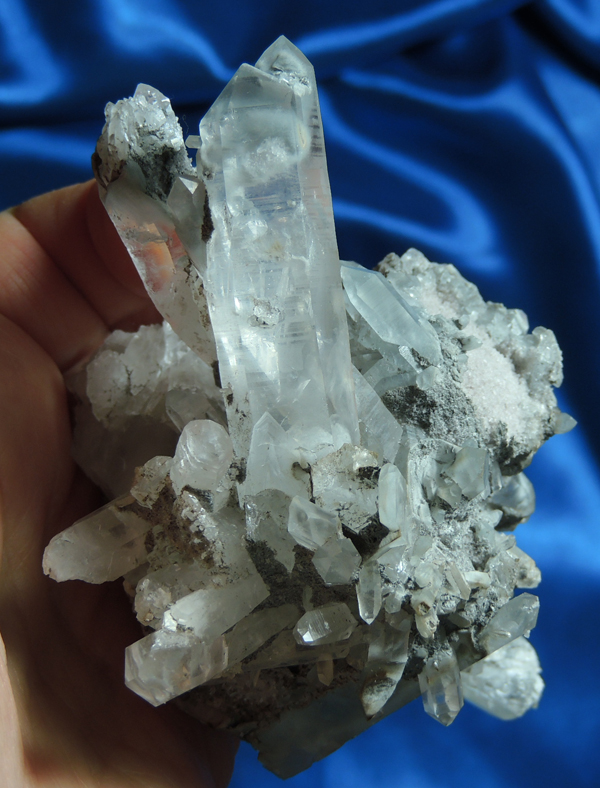 Blue and Gray Tara Quartz Cluster, Goddess of Peace and Protection with Blue-Gray Sand
