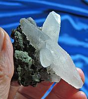 Haunting Moonglow Calcite Stellar Beams on Basalt with Celadonite