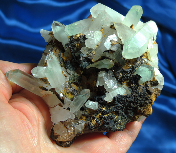Minty Celadonite Phantom Many Dow Quartz Cluster with Intense Golden Healer