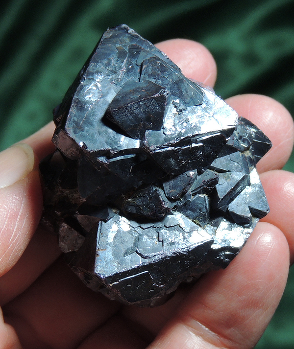 Rare Palm-Sized Bi-Pyramidal Silvery Cuprite Cluster - Russia