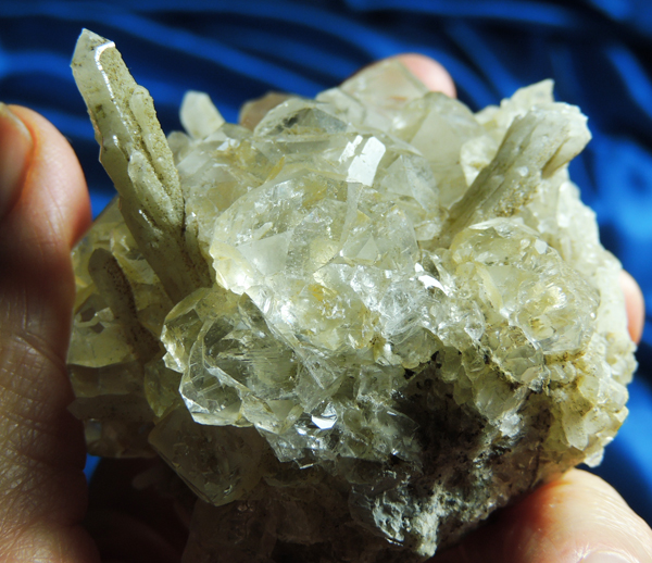 Magnificent Optical Fluorite Cluster Topped with Four Hedenbergite-Quartz Crystals