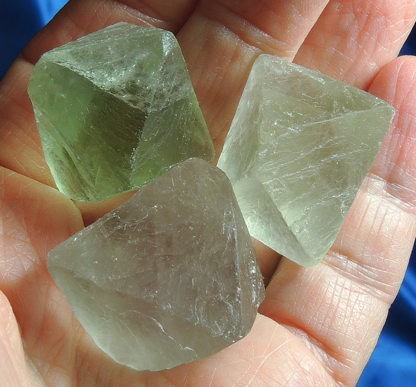 Frosty Shades of Green Fluorite Octahedron Trio