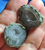 Cute Pair of Brazilian Quartz and Blue Chalcedony Geode Halves