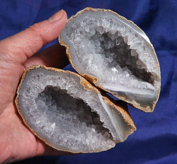 Pair of Brazilian Quartz and Blue Chalcedony Geode Halves