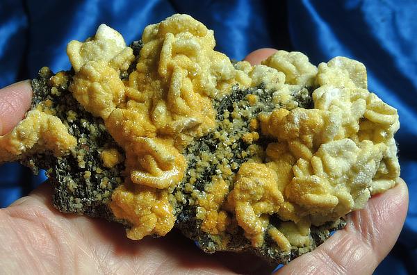 Exotic and Rare Crystalline Golden Rhodochrosite on Pyrite