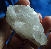 Rocket Ship Glyphed Quartz with Glittering Moonglow Calcite Druse