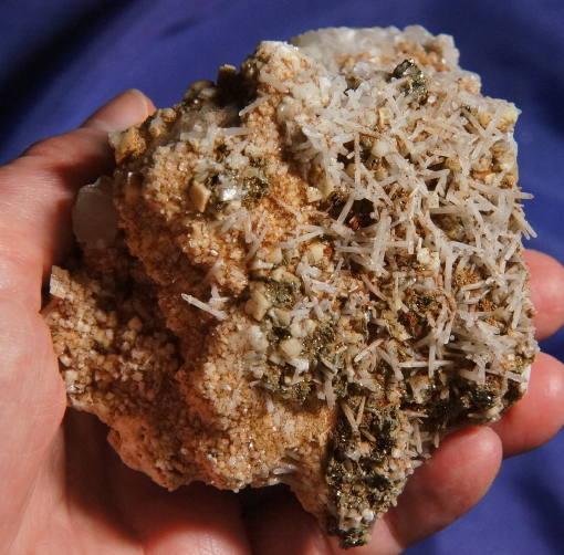 Complex Cluster of Tiny Milky Needle Quartz, Elestial Calcite and Marcasite