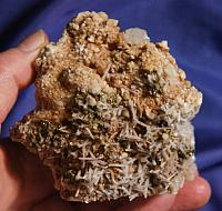 Complex Cluster of Tiny Milky Needle Quartz, Elestial Calcite and Marcasite