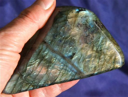 Flashy Gold, Orange and Blue Aurora Borealis Labradorite - Madagascar