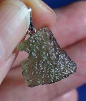 Squarish Green Moldavite Pendant for Time and Space Travel