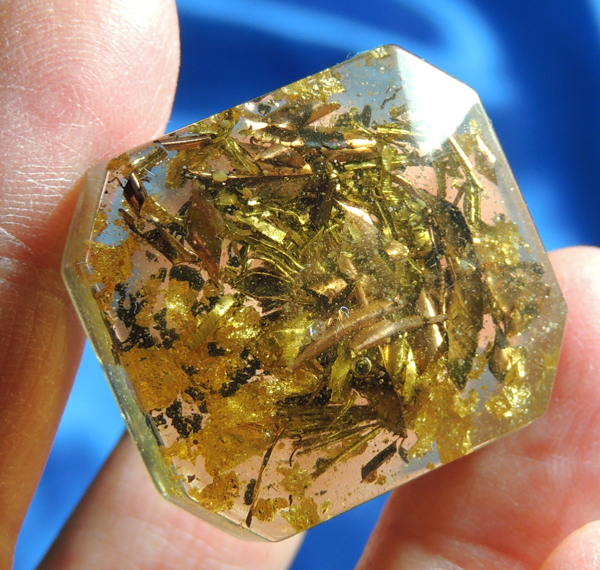 Amber Orgone Pocket Gem - Selenite, Shungite, Pakimers, Gold Leaf, Etherium Gold