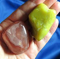 Team of Gel-Like Orange-Red Rhodochrosite and Neon Noble Serpentine Speaker Stone