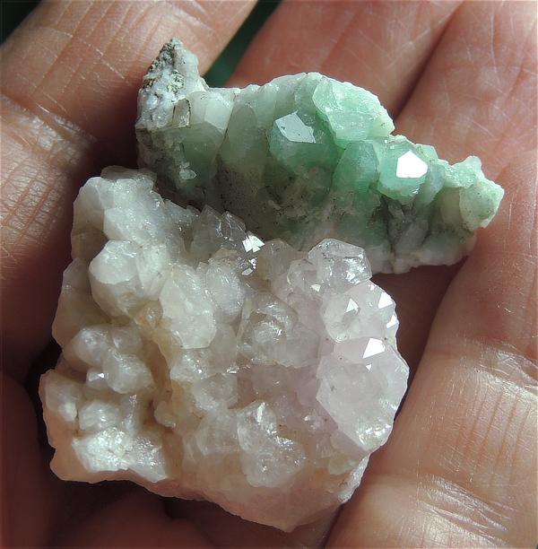 Pair - Sweet Rose Quartz Cluster and Turquoise Angel's Peace Quartz Cluster
