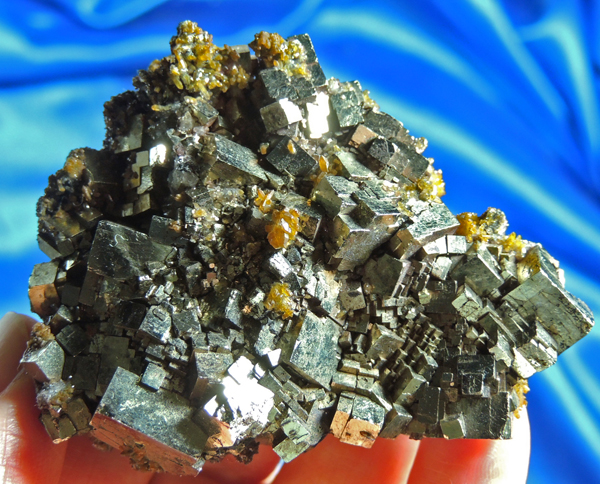 Intense and Energetic Pyrite Cluster with Quartz and Hematite