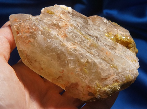 Colorful Elestial Quartz with Yellow Lepidolite, Touch of Peachy Feldspar