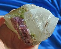 Rose-Pink, Green Rubellite Tourmaline on Frosty Quartz with Calcite-Drused Violet Lepidolite