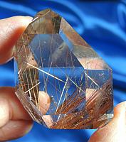 Ultra-Clear and Fiery Electric Red Rutile Polished Quartz Landscape