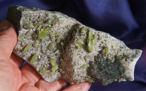 Gentle Lime Green Sphene on a Bed of Drused Quartz