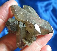Sparkling Light Smoky Swiss Quartz DT Cluster with Green Chlorite
