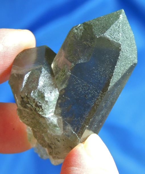 Glittering Light Smoky Swiss Quartz Cloaked with Green Chlorite