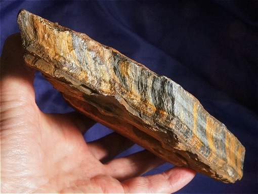 Extra-Large Altar Plate of Hawks Eye (AKA Blue Tiger Eye)