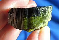Deepest-Dark Green Tourmaline with Record Keepers