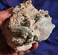 Splendid Green Uvite, White Magnesite and Pink Dolomite on Matrix - RARE