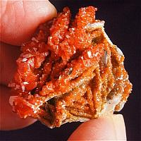 Dazzling Gemmy Orange Vanadinite on Creamy Barite