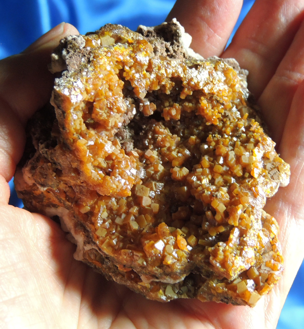 Vibrant Geode-Like Cluster of Russet Wulfenite with Calcite